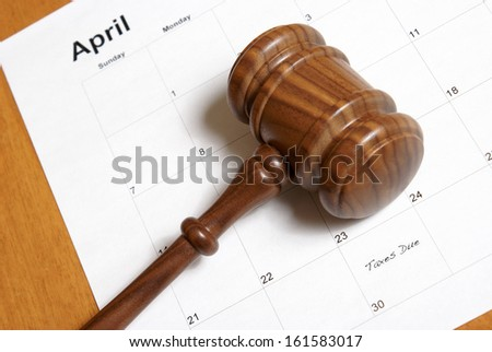 A reminder for Canadian tax payers is set on the calendar. - stock photo