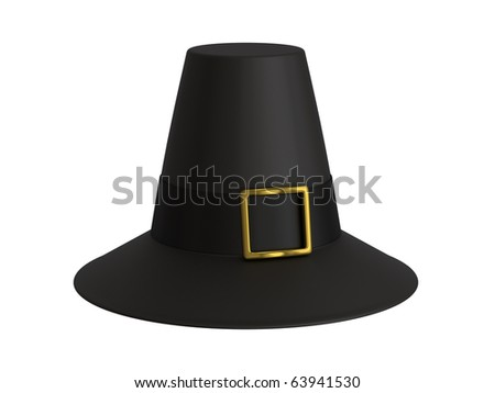 A render of an isolated pilgrim hat - stock photo