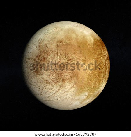 A rendered Image of the Jupiter Moon Europa on a starry background. - stock photo