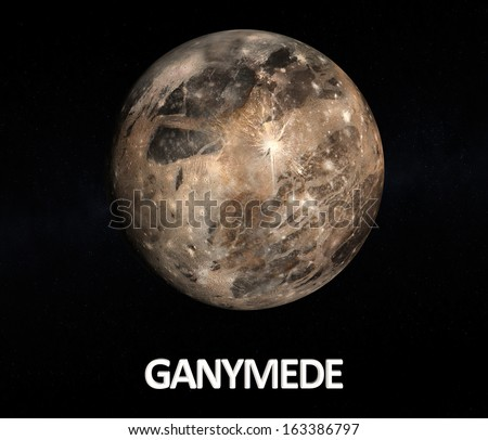 A rendered Image of the Jupiter moon Ganymede on a starry background with english caption. - stock photo