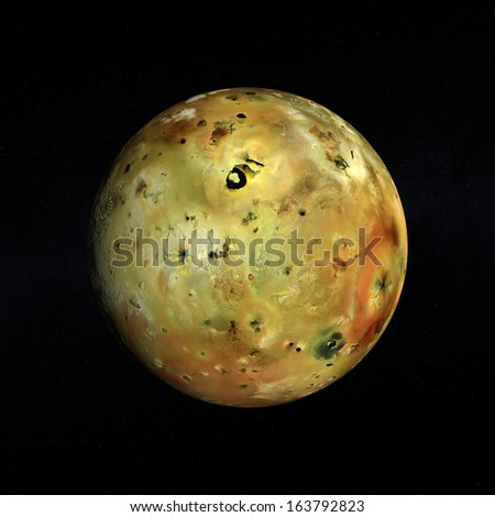 A rendered Image of the Jupiter Moon Io on a starry background. - stock photo