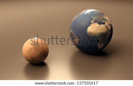 A rendered size-comparison sheet between the Planets Earth and Mars. - stock photo