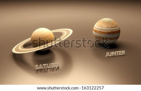 A rendered size-comparison sheet between the Planets Saturn and Jupiter with captions. - stock photo