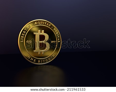 A rendering of a gold bitcoin on a dark background - stock photo