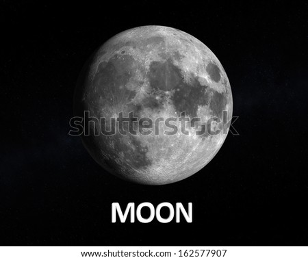A rendering of our Earth Moon on a slightly starry background with english caption. - stock photo