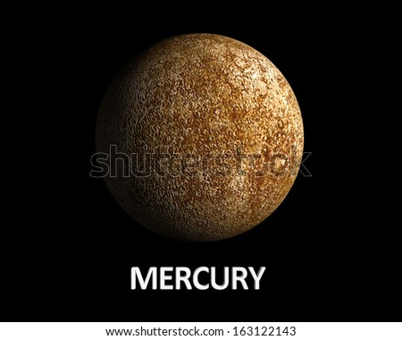 A rendering of the Planet Mercury on a clean black background with english caption. - stock photo