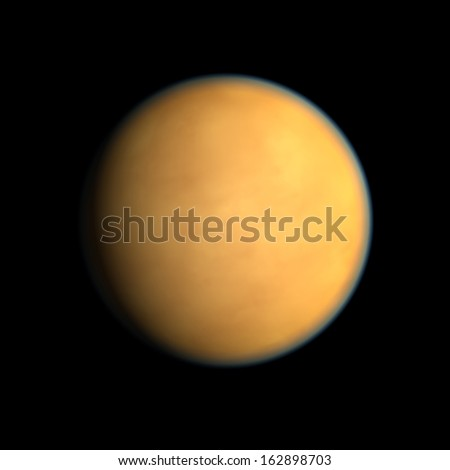 A rendering of the Saturn Moon Titan on a clean black background. - stock photo