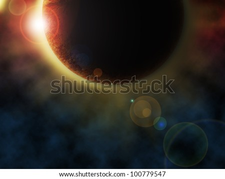 A rendition of a planet with an eclipse in outer space. - stock photo