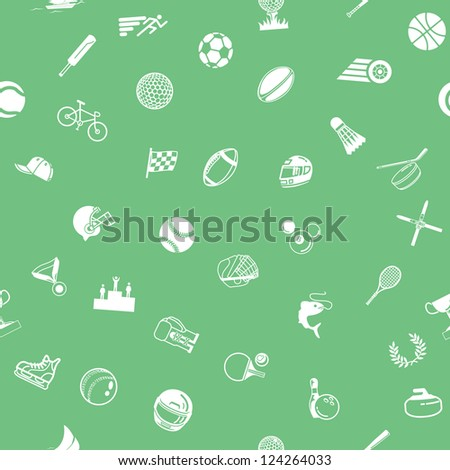 A repeating seamless sport background tile texture with lots of drawings of different sports icons - stock photo