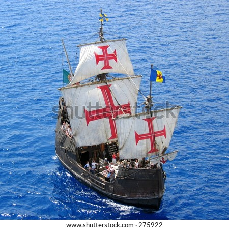 A replica of Christopher Columbus' ship Santa Maria ... - stock photo