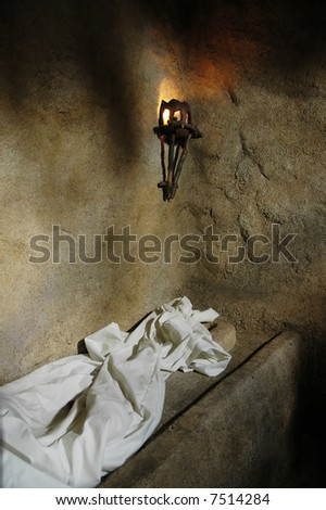 A replica of the empty tomb from which Jesus rose. - stock photo