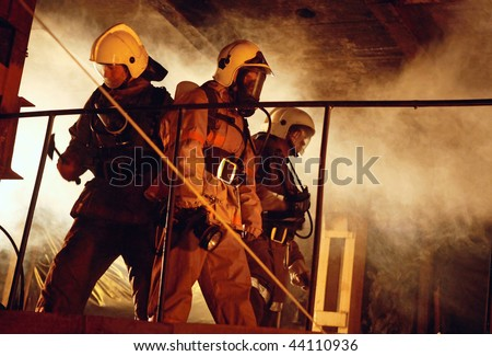A Rescue team are ready to help victims - stock photo
