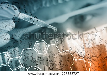 A researcher is testing, dropping reagent to test tube at laboratory with chemical equations and periodic table background. - stock photo