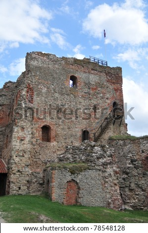 A restoration of the old castle in Latvia - stock photo