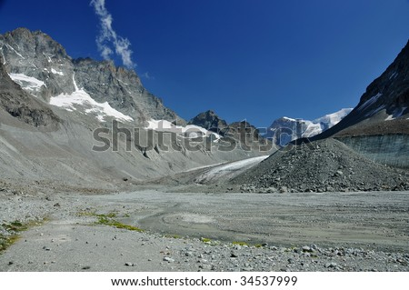 a retreating glacier leaves behind a flat valley and glacial debris. Global warming is causing glaciers to melt and sea levels to rise - stock photo
