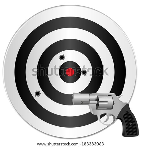 a revolver and a target with bullets holes. Raster illustration. - stock photo