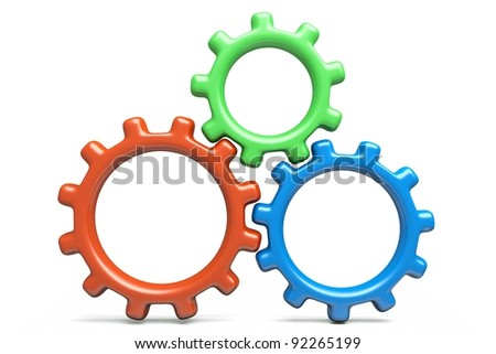 a rgb gears isolated on white - stock photo