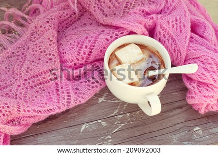 A rich cup of hot chocolate wrapped in a cozy winter scarf - stock photo