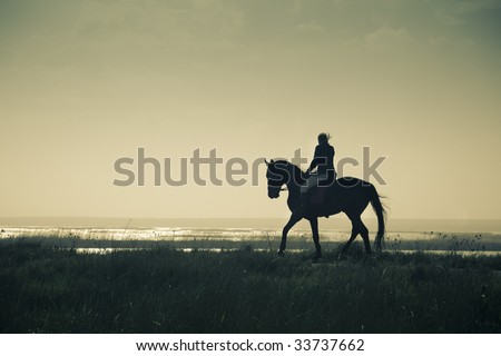 A Rider Silhouette on Horseback / split toned / retro style - stock photo