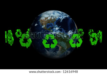 A ring made of recyclable 3D symbol around the earth - stock photo