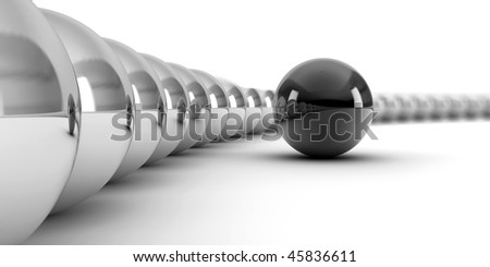 A ring of white with one black ball, conceptual for teamwork, totherness - stock photo