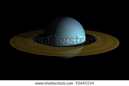 A ringed planet beyond our solar system. Isolated on black. 3d render. - stock photo