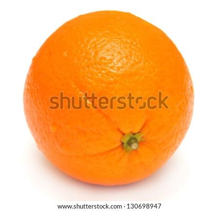 A ripe orange on a white background - stock photo