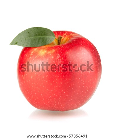 A ripe red apple with green leaf. Isolated on white background. - stock photo