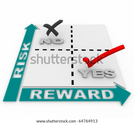 A risk-reward matrix showing that the ideal business plan targets opportunities with the lowest risk and the greatest reward - stock photo