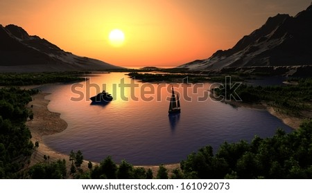 A river with a boat at sunset. - stock photo