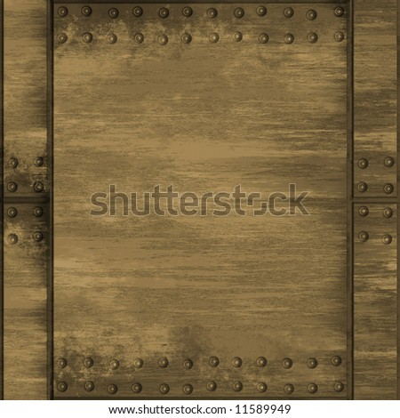 A riveted metal plate in a brass tone.  This one tiles seamlessly as a pattern. - stock photo