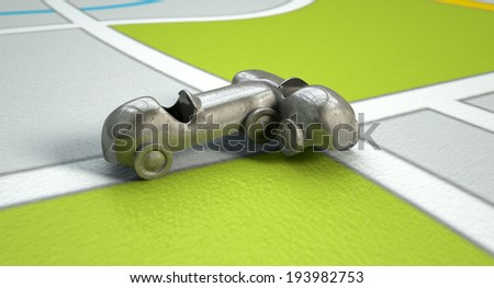 A road accident concept showing two metal toy cars after a collision on a literal gps map background - stock photo