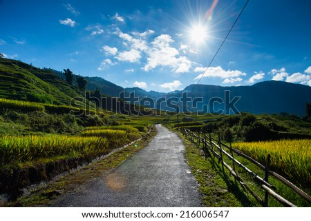 A road in rice field and sunlight in Sapa, Vietnam - stock photo