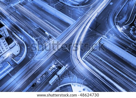 A road junction at evening in changsha ,china Beijing - stock photo