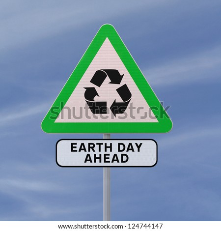 A road sign promoting environmental awareness (against a blue sky background) - stock photo