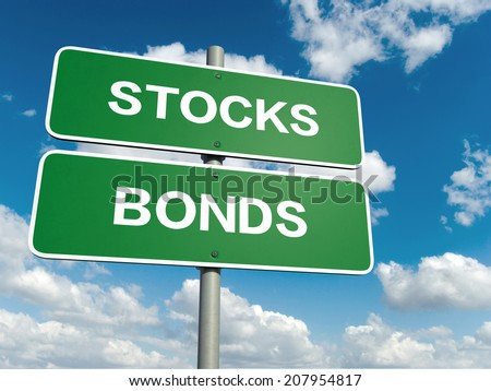 A road sign with bonds stocks words on sky background  - stock photo