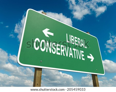 A road sign with liberal conservative words on sky background  - stock photo