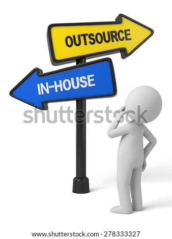 A road sign with outsource inhouse words. 3d image. Isolated white background - stock photo
