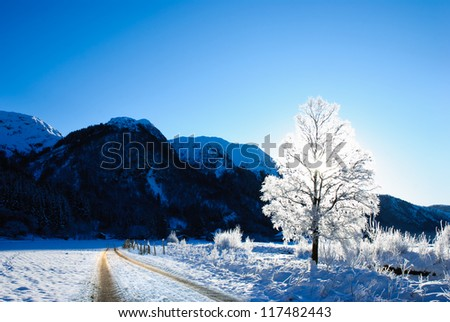 A road through beautiful winter landscape in norway - stock photo