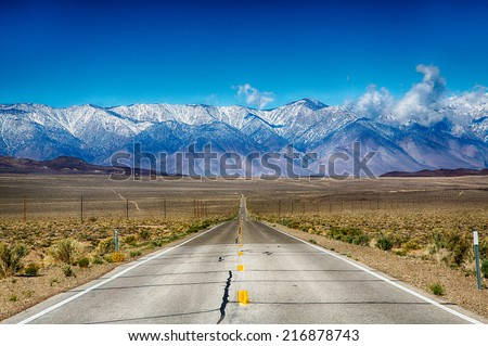 A road trip along the Eastern Sierra Nevada Mountain Range, California, USA. - stock photo