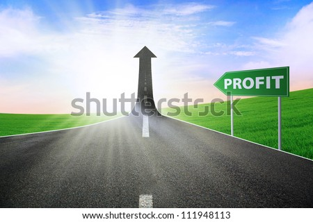 A road turning into an arrow rising upward with a road sign of profit, symbolizing the way to improve the profit - stock photo