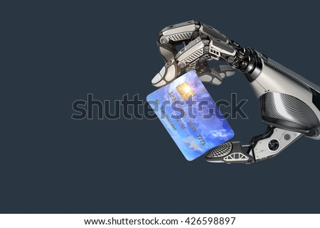 A robot holding generic credit card in hand. Electronic business finance concept. Debet Card plactic payment transaction options. 3d rendered image. - stock photo