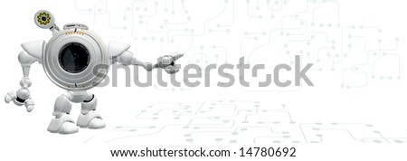 A robot web cam standing in a technological area, which is abstract and contains empty area for your design. - stock photo