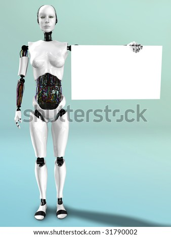 A robot woman holding a blank sign in her hand. - stock photo