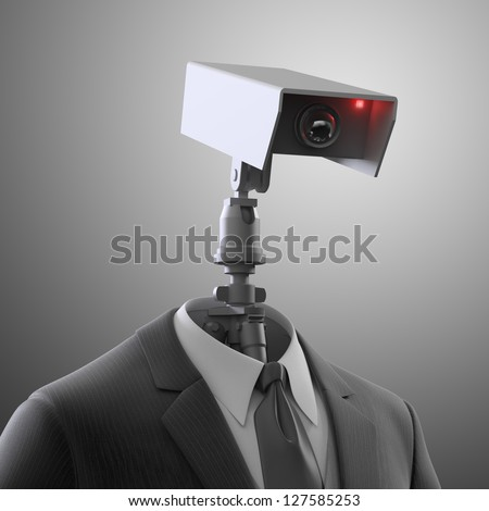 A robotic security camera - automated surveillance - stock photo