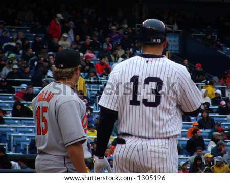 A-Rod and Melvin Mora - stock photo