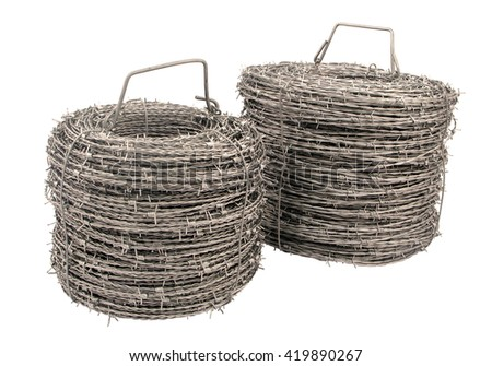 A roll of barbed wire on white background. - stock photo