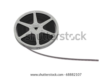 A roll of old family film on a white background. - stock photo