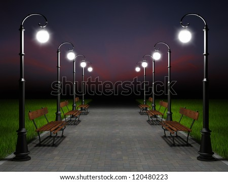 A romantic night scene. Illuminated park alley with old fashioned street light and bench - stock photo