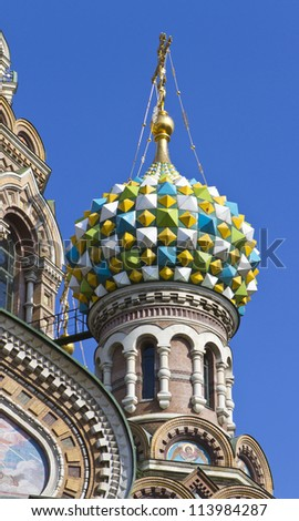 A roof detail on Church of the Savior on Spilled Blood, St. Petersburg, Russia. - stock photo